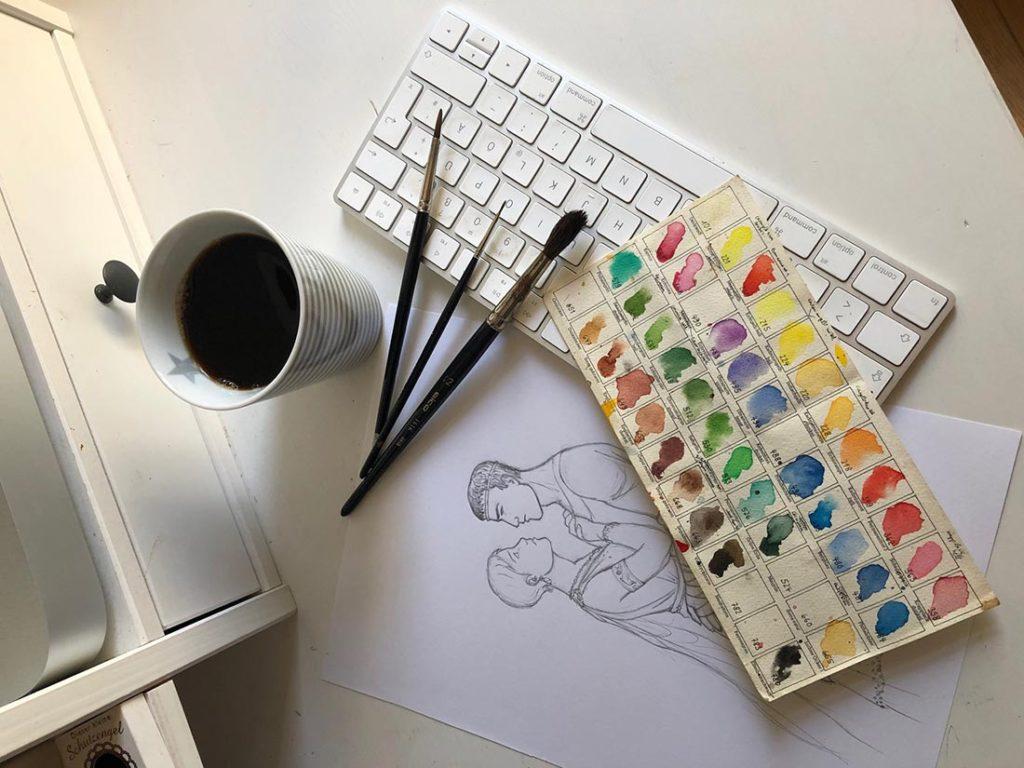 Schreibtisch mit Zeichenutensilien